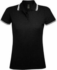 Zwarte Polo Shirt Korte Mouw Sols PASADENA MODERN WOMEN