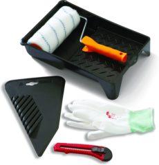 Gele Master Glasvezelbehang Set - 5-delig - 1 lijmroller - 1 behang/textielstrijker - 1 afbreekmes - 1 verfbak - 1 paar handschoenen