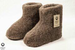 Fast wool Wollen sloffen - laars model - bruin - maat 44