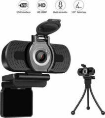 Zwarte Safu Professionele Webcam Full HD 1080P - GRATIS Privacy Cover & Tripod - Plug & Play - Verstelbare lensring- Werk & Thuis- Windows Mac & Android-Webcam met microfoon - Thuiswerk pakket - Thuiswerkplek - Webcam