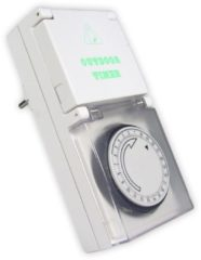 Transparante Calex waterdichte IP44 wandcontactdoos timer 24H (blister)