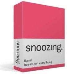 Snoozing flanel hoeslaken extra hoog - 100% geruwde flanel-katoen - Lits-jumeaux (200x210/220 cm) - Fuchsia