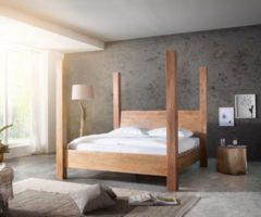DeLife Holzbett Blokk Akazie Natur 180x200 massiv Lattenrost Himmelbett Massivholzbett