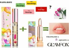 Roze Glamfox Korean Skincare – Peach Flower – Lipgloss & Lipstick Set - Lip Plumper - Langhoudend Lippenstift en Lipgloss transparant - Make Up set