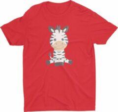 Rode Pixeline Zebra #Red 142-152 t/m 12 jaar - Kinderen - Baby - Kids - Peuter - Babykleding - Kinderkleding - Zebra - T shirt kids - Kindershirts - Pixeline - Peuterkleding