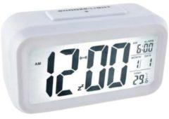 Orange85 Wekker - Digitaal - Led - Display - Thermometer - Snooze - Wit - Multifunctioneel