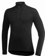 Zwarte Woolpower Zip Turtleneck 200 merino ondergoed zwart Maat S