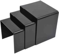 HOMCOM 3er Set Beistelltisch Acrylglastisch Couchtisch Esstisch schwarz Beistelltisch Couchtisch Wohnzimmertisch Esstisch