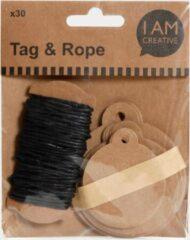 Zwarte Hobbyring Geschenkkaartjes | Kerstbal | bruin | 30 stuks + touw