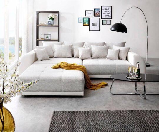 Afbeelding van Licht-grijze DELIFE Bank Violetta lichtgrijs crème 310x135 cm inclusief hocker en kussen Big Sofa