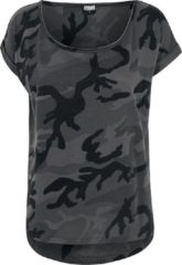 Urban Classics Ladies Camo Back Shaped Tee Maglia donna mimetico scuro