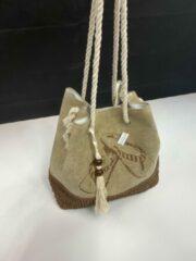 Hamamtowels Tas | Strandtas | Saunatas | Shopper | Met klos | Bruin | Met slipper print