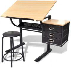 Bruine Compleet bureau met kantelbaar bureaublad met kastje + Stoel