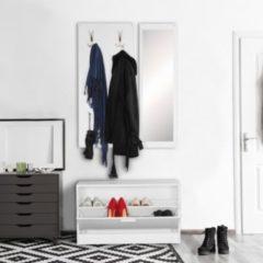 Wohnling Wand-Garderobe JANA mit Spiegel & Schuhschrank Spanplatte weiß Moderne Flur-Kompaktgarderobe für Jacken & Schuhe Komplettgarderobe