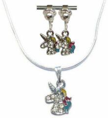 Paarse MNQ bijoux - Verzilverde Ketting - Clipoorbellen - Oorclips - Unicorn - Eenhoorn - Hanger