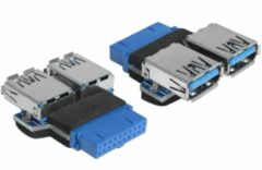 Delock USB 3.0 Adapter [1x USB 3.0 bus intern 19-polig - 2x USB 3.0 bus A] 65324