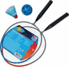 Happy People Badmintonset 45 Cm Shuttle/bal Grijs/blauw 4-delig