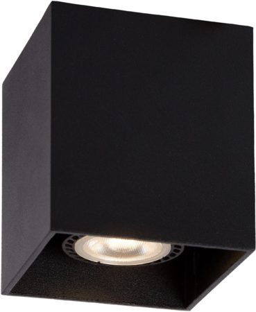 Afbeelding van Zwarte Lucide BODI Plafondlicht Vierkant GU10 excl. D8 H9.5cm Zw
