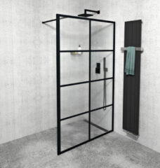 Gelco Cure Black inloopdouche 140x200cm 8mm glas anti-kalk