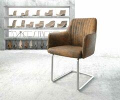 Zilveren DELIFE Stoel Greg -Flex sledestoel rond roestvrij staal vintage suede-look bruin