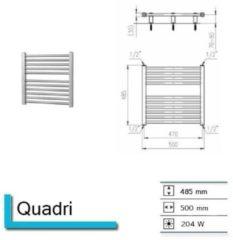 Plieger Quadro designradiator horizontaal 485x500mm 204 watt wit 7250048
