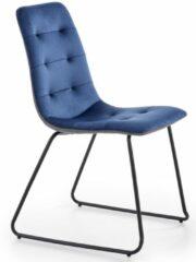 Donkerblauwe Home Style Eetkamerstoel Alex in blauw met grijs