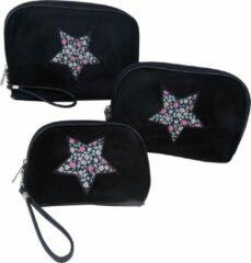 Jessidress Toilettassen Set van velours Make-up Etui´s - Zwart