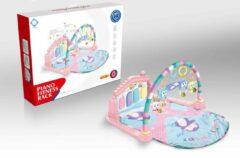 Blauwe FDBW Baby Speelkleed – Kitten | Interactief Speelkleed – Roze | Speelkleed Met Boog | Baby Speelmat Gym – 50x45x10cm