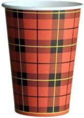 Merkloos / Sans marque Scotty | Wegwerp cup | Koffiebeker met Schotse ruit | 180cc | 100 stuks | Kartonnen beker | Papieren beker| Drinkbeker