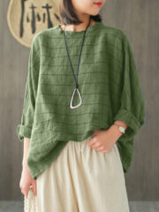Newchic Vintage Plaid Long Sleeve Plus Size Baggy Blouse with Pockets