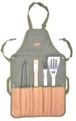 Campingmeister Esschert design BBQ schort met tools / BBQ schort met opbergvakken - griltang - grilvork - spatel inclusief flessenopener - BBQ kwast