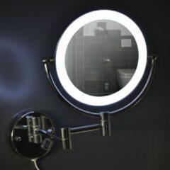 Douche Concurrent Scheerspiegel Cleopatra 20x20cm Geintegreerde LED Verlichting Kantelbaar 3x Vergroting Lichtschakelaar Hoogglans Chroom