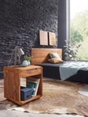 Wohnling Nachttisch BOHA Massiv-Holz Sheesham Design Nachtkommode 55 cm hoch mit Schublade Nachtschrank für Boxspringbett