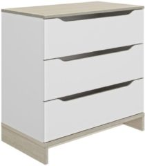 Gamillo Furniture Ladekast Gray 81 cm hoog in wit met eiken