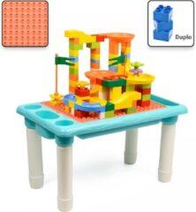 Decopatent® - Kindertafel Bouwtafel - Speeltafel met bouwplaat (Voor Duplo® blokken) en vlakke kant - 4 Vakken - Met 78 Bouwstenen