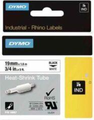 Labeltape krimpkous DYMO IND RHINO 18057 Polyolefine Tapekleur: Wit Tekstkleur:Zwart 19 mm 1.5 m