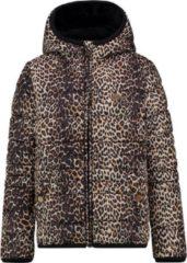 Vingino reversible gewatteerde jas Tiresse met panterprint bruin/zwart