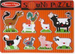 Rode Melissa & Doug Houten Geluidspuzzel boerderijdieren - Houten puzzel met geluidseffecten (8-delig)