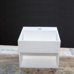 Crosstone by Arcqua Crosstone Solid surface standaard wastafel B32.5xD32.5xH25cm vierkant met waste wit mat CTWL2035