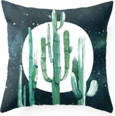 Donkerblauwe Moodadventures | Kussens | Kussenhoes Moonlight Cactus |45 x 45 cm. met rits