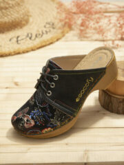 Paarse SOCOFY Retro Floral Cloth Lace Up Decor Slip On Wood Mules Clogs
