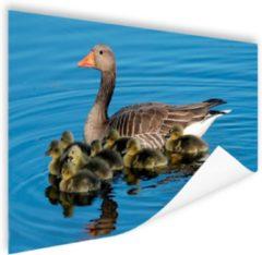 Bruine MuchoWow Gans met babyganzen in het water Poster 120x80 cm - Foto print op Poster (wanddecoratie woonkamer / slaapkamer) / Dieren Poster