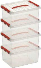 Merkloos / Sans marque 10x Sunware Q-Line opberg boxen/opbergdozen 15 liter 40 x 30 x 18 cm kunststof - A4 formaat opslagbox - Opbergbak kunststof transparant/rood