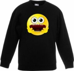Bellatio Decorations Smiley/ emoticon sweater geschrokken zwart kinderen 9-11 jaar (134/146)