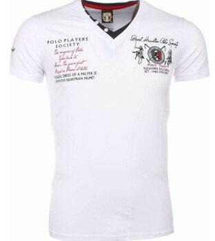 Afbeelding van Witte T-shirt Korte Mouw David Mello Italiaanse T-shirt - Korte Mouwen Heren - Borduur Polo Players