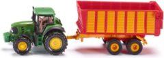 Groene Siku John Deere tractor met silagewagen groen (1650)