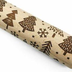 Bruine Waterval Deegroller Kerst print Kerstboom - Koekjes roller kerst decoratie Kerstboom - Beukenhout 39cm