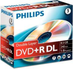 Philips (her)schrijfbare DVD's DR8S8J05C 8,5GB/240min. 8x, dubbellaags DVD+R