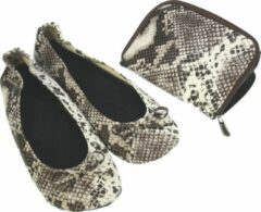 Bruine Meander elegant home accesoires Pocket Shoe Phytonprint maat 38/39 - slofje voor onderweg