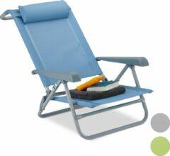 Relaxdays Ligstoel - opvouwbaar - inklapbare tuinstoel - strandstoel - relaxstoel - tuin blauw